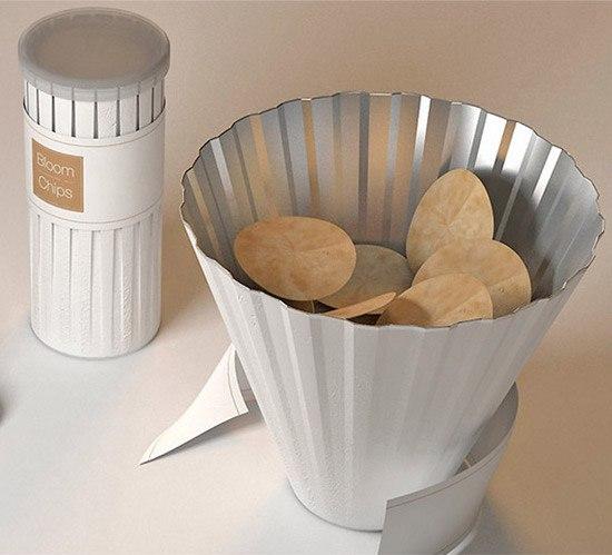 Креативная упаковка чипсов, которая превращается в вазочку